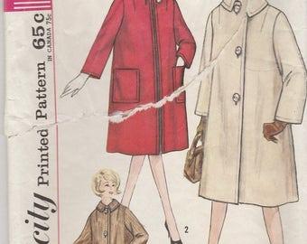 60s Classic Coat Pattern Simplicity 4637 Size 14