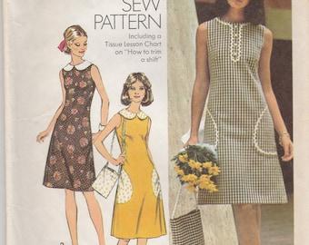 70s A-line Summer Dress & Bag Pattern Simplicity 5514 Size 14