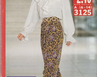 Ruffled Shirt & High Waist Pants Pattern Butterick 3125 Sizes 6 - 14 Uncut