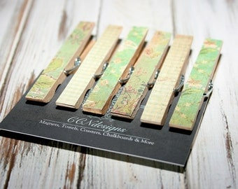 Green Floral Clothespin Magnets, Set of 6