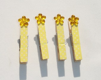 Mini Yellow Floral Decorative Clothes Pins - Set of 4