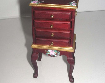 Hand-Painted Silver Chest with Legs Dining Room 1:12 Dollhouse Miniature Victorian, Mahogany, Roses