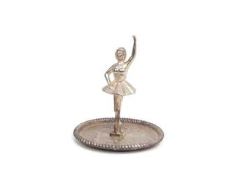 Vintage Ballerina Ring Holder Silver Plated Jewelry Storage Vanity Accessory Organizer Dish Little Girls Room Ballet Dancer