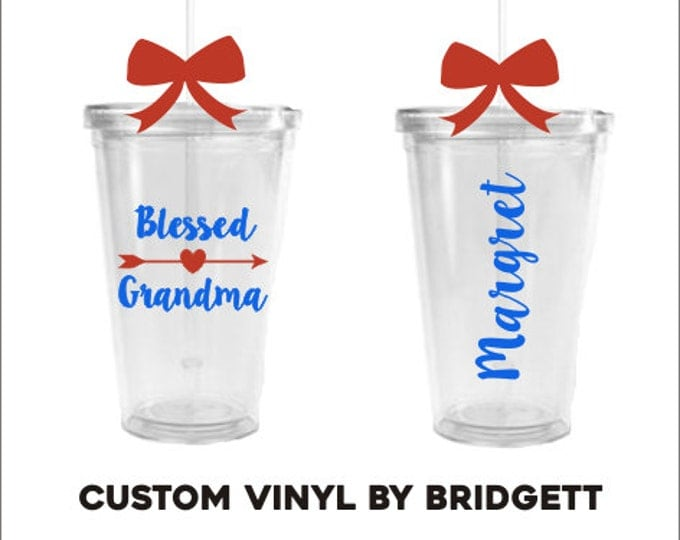 Blessed Grandma Cup Grandma Cup Tumbler For Nana Cup for Granny Mother's Day Gift Gift for Grandma Gift for Grandparent's Day Acrylic Cup