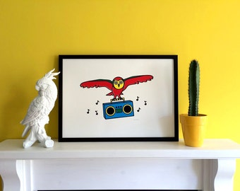 Owl Screenprint Poster, A2 Screenprint, Bird Art Print, Boombox Print, Five Colour Screenprint, Handprinted Owl Poster, Fun Print, Fun Art