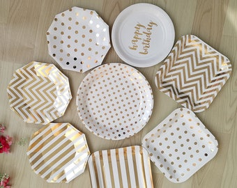 gold paper plates chevron stipes polka dots party plates bridal shower birthday party paper plates golden plates christmas party