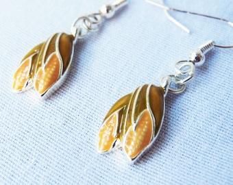 Vintage Enamel Corn Earrings