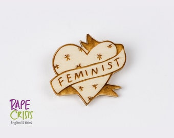 Feminist Illustrated Wooden Heart Brooch, Laser Cut Wooden Jewellery