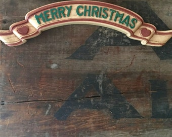 Homco Merry Christmas Banner, Faux Bois Perfect for Outdoors, ca. 1970s