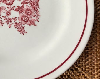 Vintage Restaurant Plate, Red Line with Red Floral by Jackson China ca. 1950s