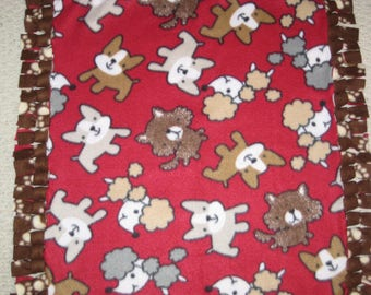 """Dog Blanket - Red/ Brown Reversible Blanket - 23""""x 28"""" - Hand Tied Fleece Blanket - READY to SHIP!"""