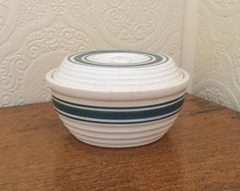 Vintage Stoneware Covered Casserole Dish