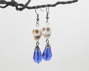 White and blue howlite skull earrings