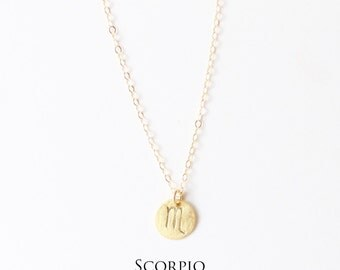 Handmade scorpio necklace etsy scorpio necklace zodiac charm necklace hand stamped 14k gold filled sterling silver aloadofball Choice Image