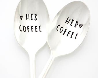 Gifts for Coffee Drinkers. His Coffee and Her Coffee Spoon Set.
