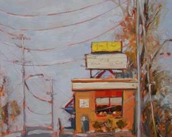 Original Art-Oil Painting-Urban Landscape-Plein air-Modern-Contemporary-American Hot Dog Joint-Affordable home decor-Wall art-Colorful-Cool