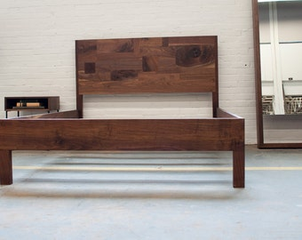 Solid Walnut Patchwork Bed with Frame and Headboard