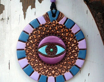 Handmade Evil Eye Wall Hanging Ceramic Plaque Home Decor, Protection Symbol Entryway Hanging Decor, Wall Decor Amulet, Ready to Ship.
