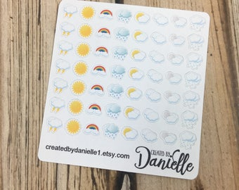 Tiny Weather Stickers, Weather Planner Stickers, Daily Weather Stickers, Bullet Journal Planner Sticker, set of 56