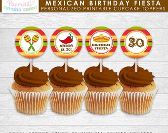 Mexican Fiesta Theme Birthday Party Cupcake Toppers | Personalized | Printable DIY Digital File