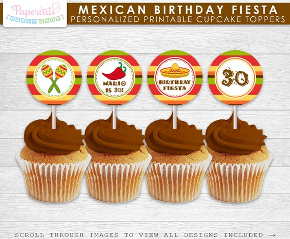 mexican fiesta theme birthday party cupcake toppers personalized