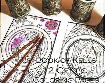 Book of Kells Digital Coloring Page Celtic Designs Printable Adult Colouring Pages Angels Winged Animals Birds Digital Download