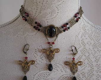 Choker Necklace Collier & Earrings Bronze Black Red Gothic Victorian Burlesque Bohemian