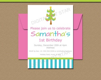 Christmas Invitation Template - Modern Christmas Invitations - Holiday Party Invites Instant Download - Christmas Pregnancy Announcement C1