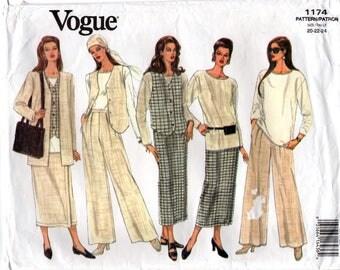 """1990's Vogue Pants, Skirt, Vest Jacket, Blouse Pattern - Bust 42-46"""" - UC/FF - No. 1174"""