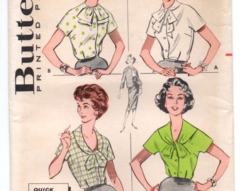 "1950's Butterick Button Up Blouse Pattern with Bow Detail at Collar - Bust 38"" - UC/FF - No. 9206"