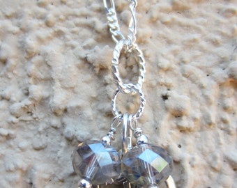 Sterling Silver Heart / Love Charm Necklace with Glass Crystals Nice Gift