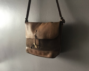 Natural tanned saddle leather and nubuck Charles et Charlus FRANCE bag, vintage