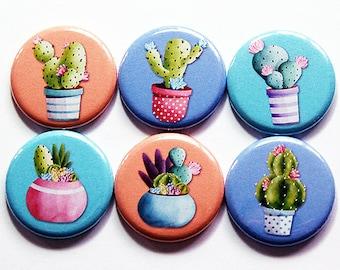 Cactus Magnets, Magnet Set, Cactus, button magnets, Kitchen Magnets, plant magnets, cactus plant magnets, cacti, orange, purple, blue (7369)