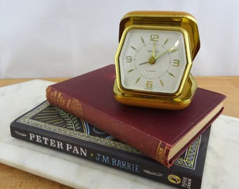 Small Vintage Travel Alarm Clock , Wind Up Mechanical Clock , Made in Germany