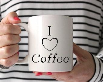 Ceramic Mug - I (heart) Coffee, Coffee Tea Hot Chocolate White Mug