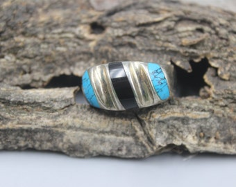 Men's Sterling Silver Ring Mexican Mexico Turquoise Onyx Size 13  Modernist Modern