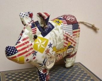 Primitive Americana Pig - Made To Order, Patriotic Fabric Pigs, Country Farmhouse Decor