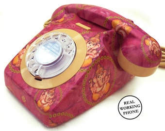Ganesh Icon Upcycled Vintage Rotary Phone RESTORED & WORKING - Quirky Decor
