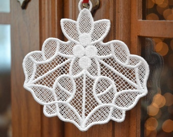 Holly Leaf embroidered lace ornament