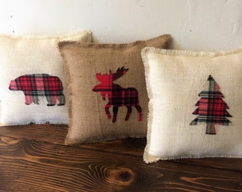 "13"" x 13"" Burlap & Plaid Fringe Pillows-Moose, Bear or Evergreen Tree Applique-Natural or Off-White Burlap-Winter/Christmas/Holidays/Decor"