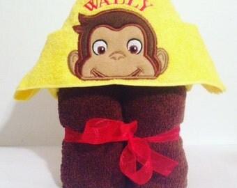 Hooded Bath Towel, Curious George, Hooded Kids Towel, Hooded Monkey, Bathtime, Curious George Peeker, Birthday Gift, Baby Shower, Bath