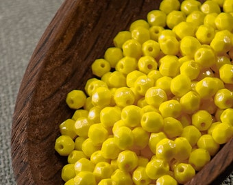 Lemon Yellow Czech Fire Polished Opaque Beads 4mm (50) Round Glass Small Polish Faceted Hot 4mm yellow beads last