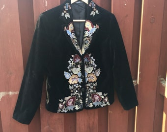 Vintage Black Velvet Jacket / 90's Embroidered Blazer Size Small