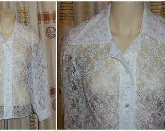 Vintage 1960s 70s White Lace Blouse Long Sleeves Sheer Floral Pattern Lace Moonstone Buttons Boho M L chest 39 in