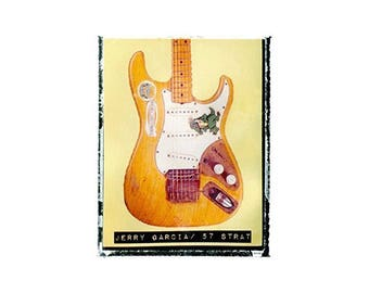 Grateful dead Jerry Garcia guitar art print / music gift / rock n roll art / music room decor / guitar gift / man cave art