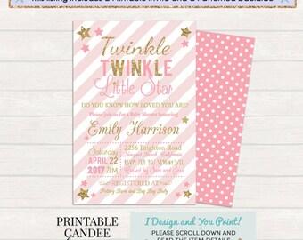 Twinkle Twinkle Little Star Baby Shower Invitation, Twinkle Little Star Invite, Pink Gold Baby Shower, Sparkle Invitation, Girl Baby Shower