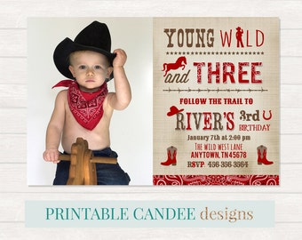Wild Cowboy Invitation, Western birthday, Cowboy Party, Boy Birthday Party, Young Wild and Three, 3 Year Old Birthday, Western Printables