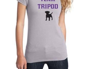 Team Tripod, 3 Legged Dog, Disabled Dog, Tripod Dog Shirt, District Threads Shirt, Direct to Garment, Women's Dog Shirt, Silver Shirt