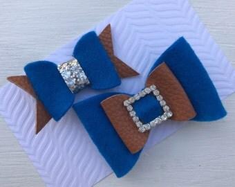 Dainty hair clip set~Girls Hair clip Set~Photo prop~royal blue bow~Toddler~Bow Clips~Girl Hair clips~Girls Gift Set~Felt Bow Hair Clips