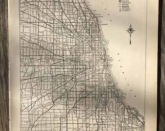 City of Chicago Map / Vintage Map Decor / City Map Wall Art / Antique Map of Chicago Illinois / Retro Travel Decor